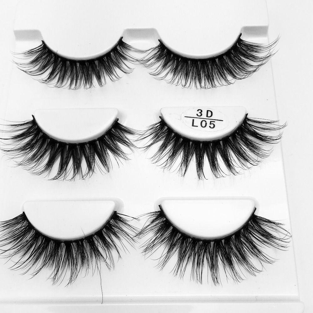 2018 NOVO 3 par Mink 3D cílios artesanais Lashes vison natural de longo Eye Lashes Cruz Grosso onda cílios postiços 1cm-1,5 centímetros