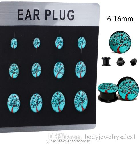 Acrylic UV 60pcs LOGO Ear Gauges Flesh Tunnels Plugs Stretcher Expander Tragus Earring Body Piercing Jewelry Mix 6-16MM