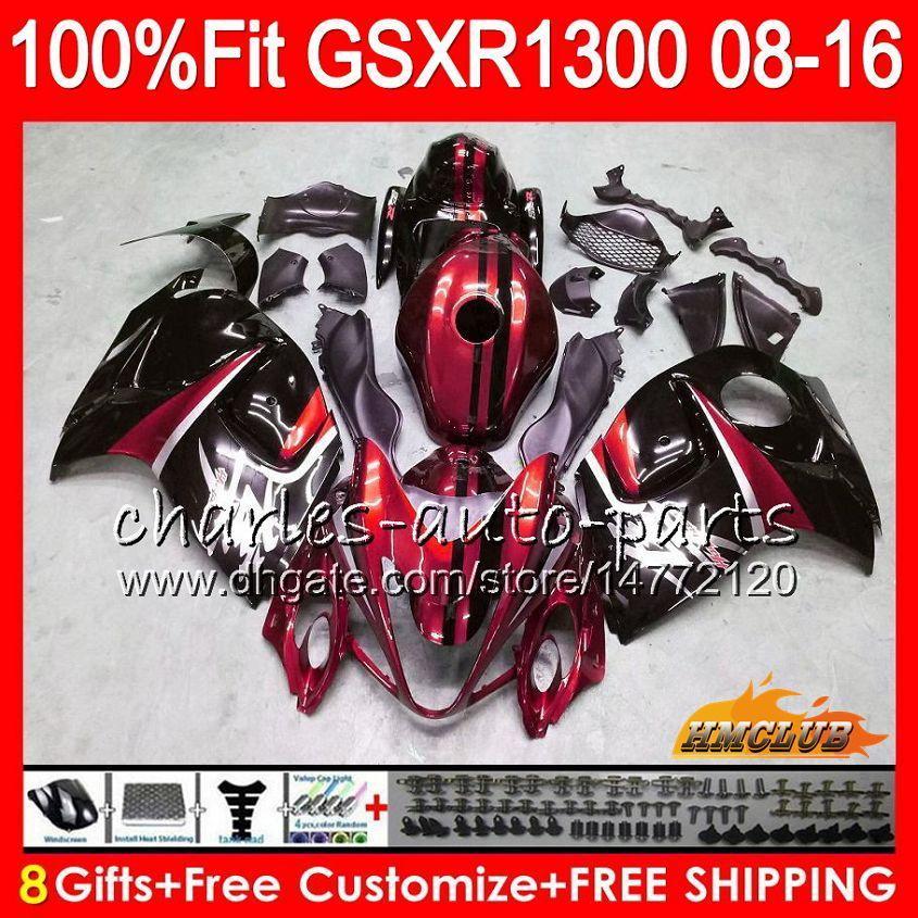 حقن لـ SUZUKI GSXR1300 Hayabusa 08 09 10 2008 dark red blk 2009 2010 25HC.115 GSXR 1300 GSXR-1300 11 12 13 2011 2012 2013 OEM Fairing