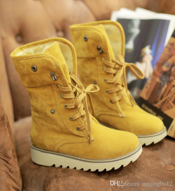 Sonbahar ve kış tatlı süet kısa tüp kar botları kalın dip rahat ayakkabılar düz renk düz