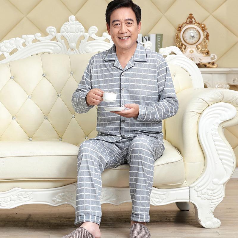 Il sonno della molla di autunno Maschio Pajama Set di cotone pigiama L'uomo vestito di Turn-down Collar Solid pigiama Uomo manica a righe Pijama Uomini XXXL completa