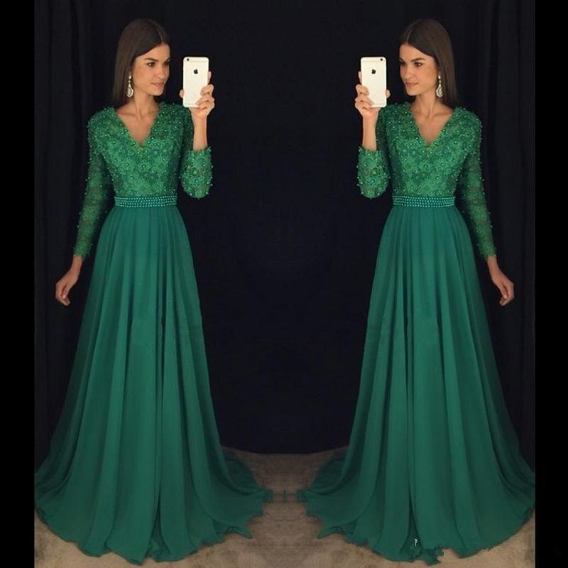 Abiti da cerimonia con organza a maniche lunghe in chiffon di pizzo verde smeraldo Abiti da sera eleganti con scollo a V a maniche lunghe in rilievo plus size da donna