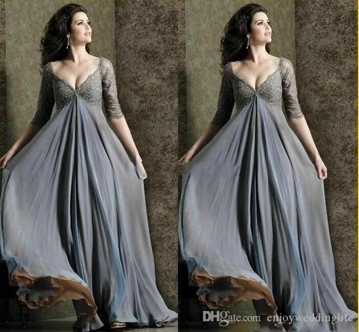 عميق الخامس عنق 2020 بالاضافة الى حجم الخصر الإمبراطورية مع نصف كم الرباط الشيفون الأم طويلة من العرائس اللباس أثواب الكرة الرسمية