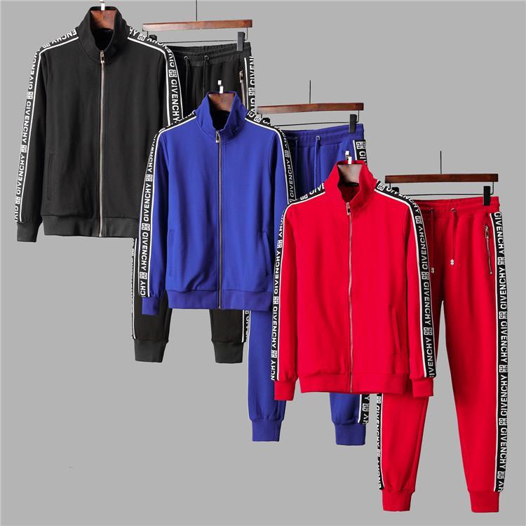 sudaderas de diseño de moda de ropa deportiva de los hombres de AD y pantalones 2 juegos de ropa de la marca de color sólido fijan 2019 ropa deportiva de alta calidad de los hombres