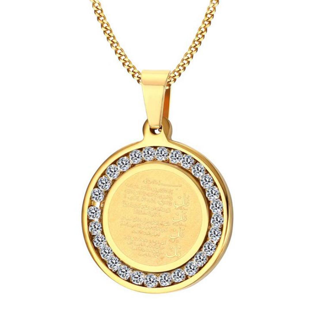 Iced Out Chirurgico in acciaio 18 carati placcato oro arabo Islam Religione Preghiera Corano Parole CZ Inlay Decorazione pendente Collana