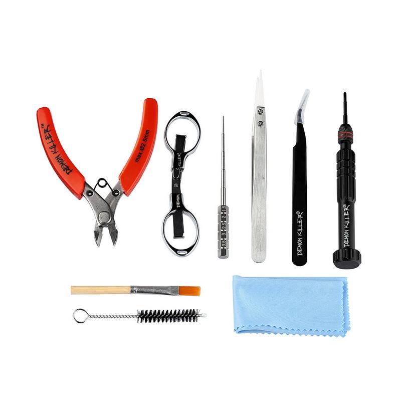 Authentic Demon Killer Vape Tool Bag Kit With Screw DIY Coil Jig Ceramic Tweezer Screwdriver Bent RDA RBA RTA Tank Atomizer DHL