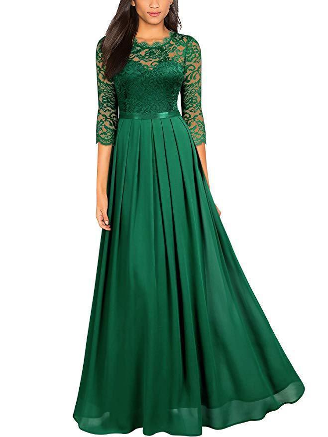 Andar de comprimento eleagnt sexy lace top patchwork chiffon bainha noite partido vestido tamanho mais vestidos verde / preto / marinho vestidos azuis