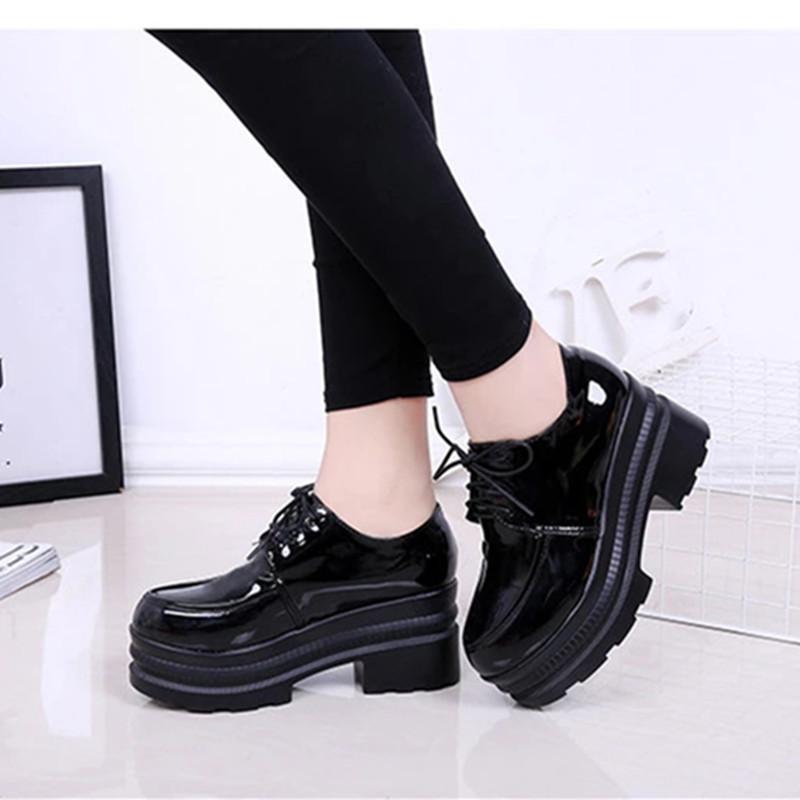 Femmes Chaussures Talons Platform Wedges Femme Pompes Noir PU cuir à lacets épais Bas bout rond Chaussures Casual 2019 sdc