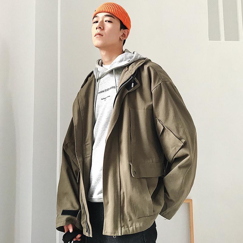 2018 осень и зима Новая Гавань ветер куртка Куртка Молодежный мужской инструмент сплошной цвет с капюшоном рубашка черный / серый / армия зеленый M-2XL