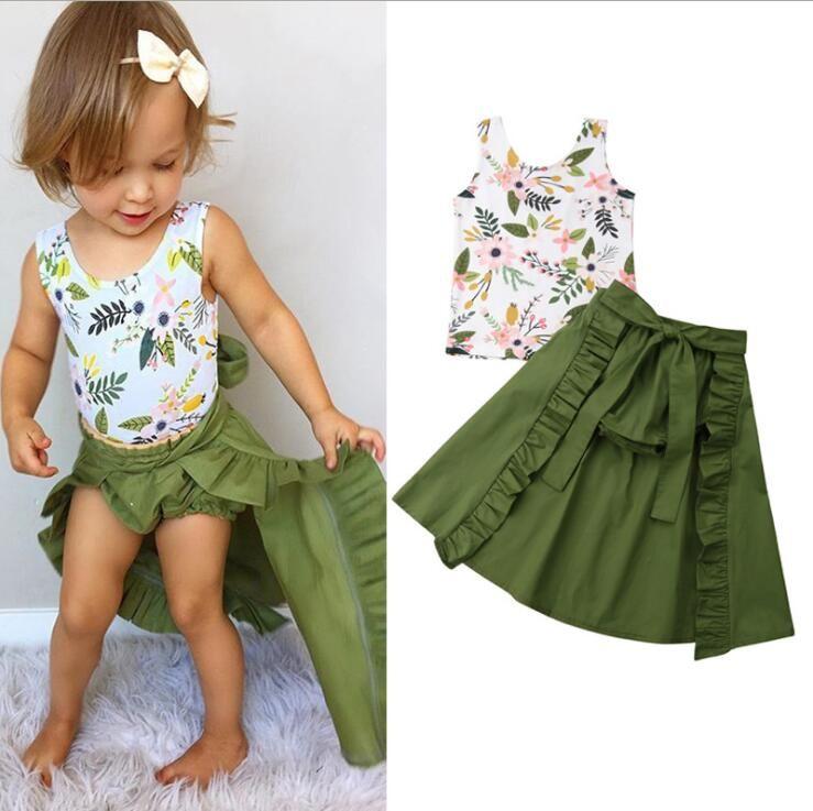 Vêtements de designer pour enfants Vêtements pour filles Ensemble d'été Toddler Baby Girls Floral Gilet Top + Shorts + Jupe en queue d'aronde costume d'été Ensemble