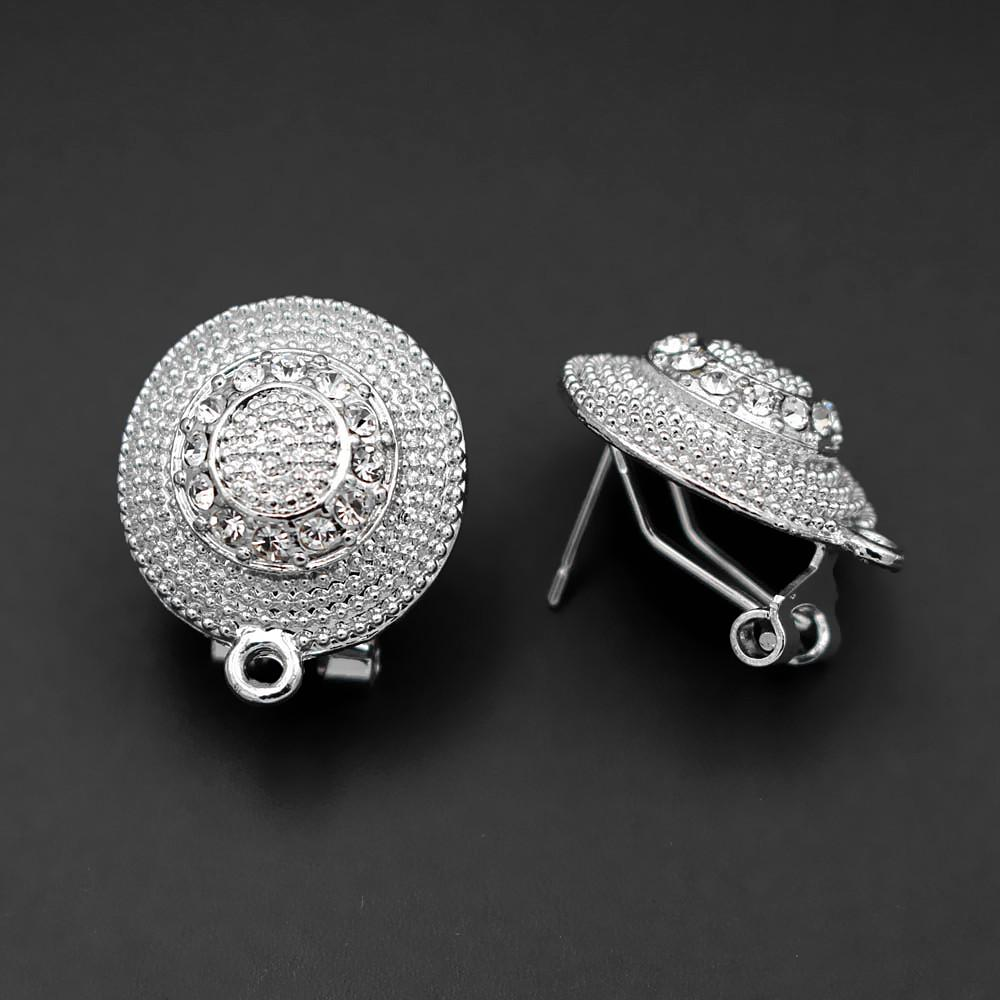 Stud Clip Earrings Post with Loop Connector Paved CZ Caps African Chile Nigerian Women Wedding Jewelry Accessories DIY Findings