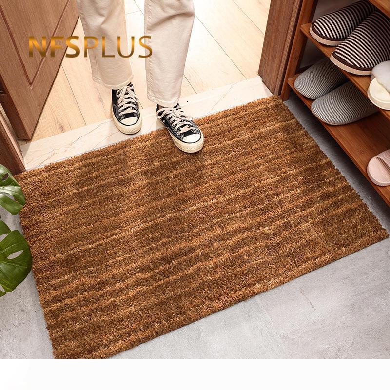 Frente al aire libre de la estera de puerta de entrada Felpudo 40x60cm amarilla natural de fibra de coco Espesar 15mm Anti Slip-Zapatos Clean Mat Alfombras Tapetes