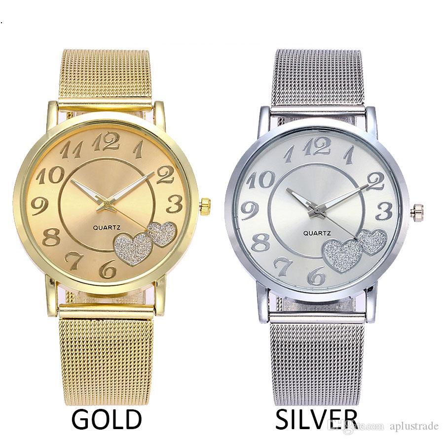 Women Silver & Gold Alloy belt Mesh Love Heart Dial Wristwatches Fashion Casual Women's Steel Quartz Watches Relogio Feminino