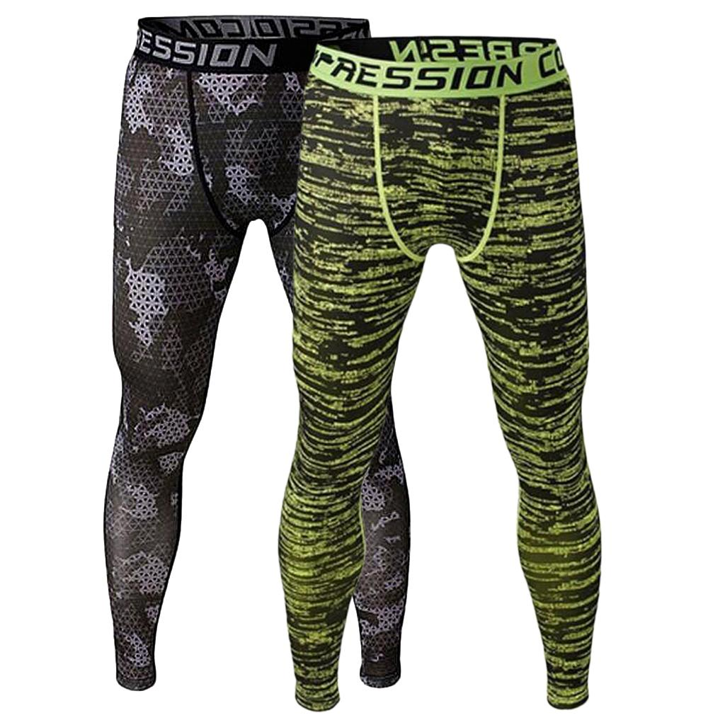 2pcs Men Compression Trousers Running Sports Leggings Base Layer Training Gym Wear L