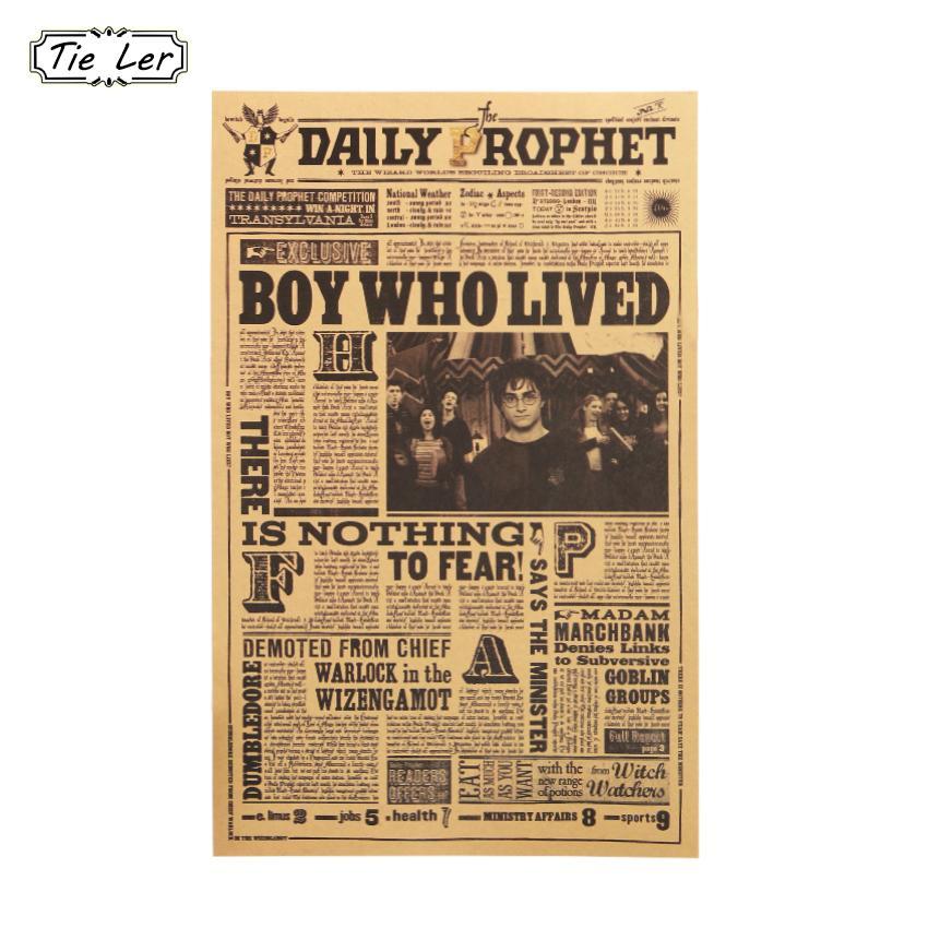 Wall Sticker Daily Prophet Retro Poster di Harry Potter Classico film per bambini in camera Home Decor Wallpaper all'ingrosso