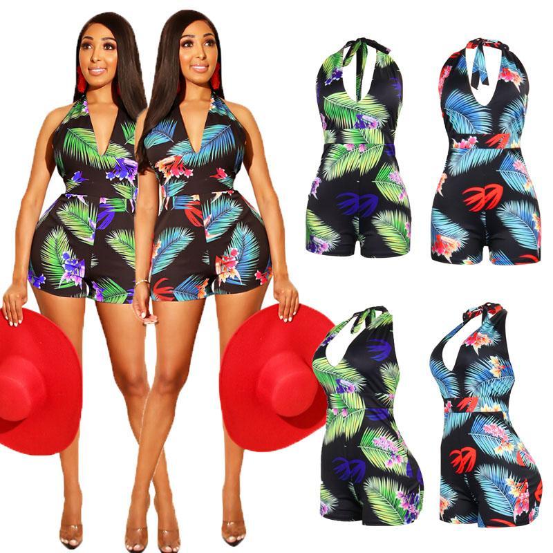 Sommer-Frauen-Bikini-Blatt-Druck-Halter Swimwear Swimsuit Bodycon Partei Ärmel Sexy Backless One-Piece Shorts Urlaub