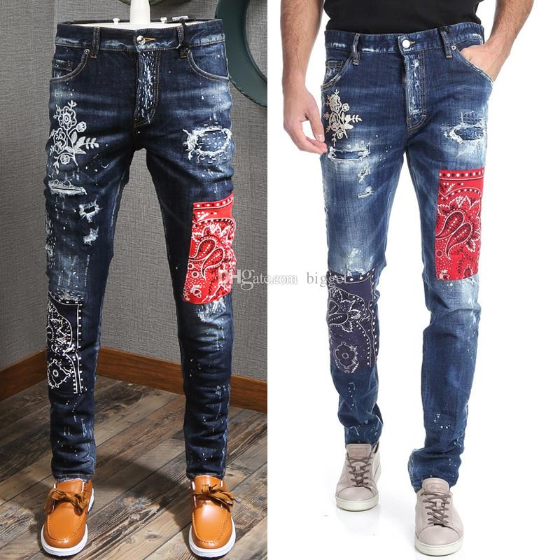 Patchwork Jeans Cool Guy Man Italy Designer Floral Patch Painted Distressed Fading Slim Fit Blue Denim Pants