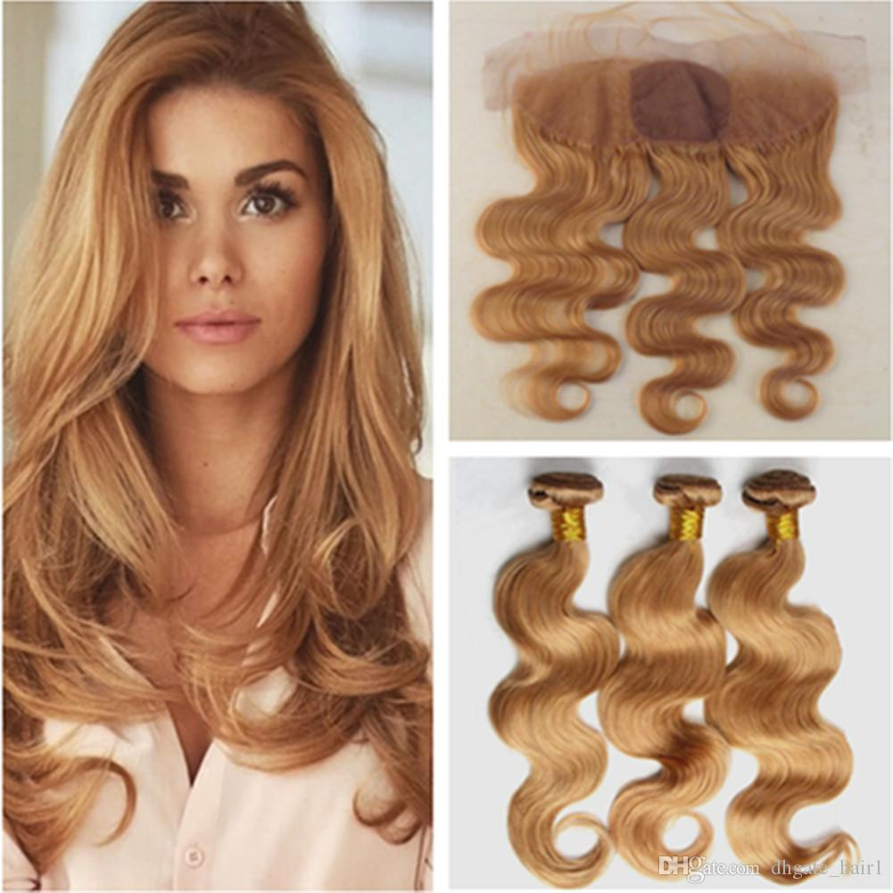 #27 Honey Blonde Peruvian Hair Bundles with Silk Base Frontal Light Brown Body Wave Human Hair Silk Top Lace Frontal 13x4 with Weaves