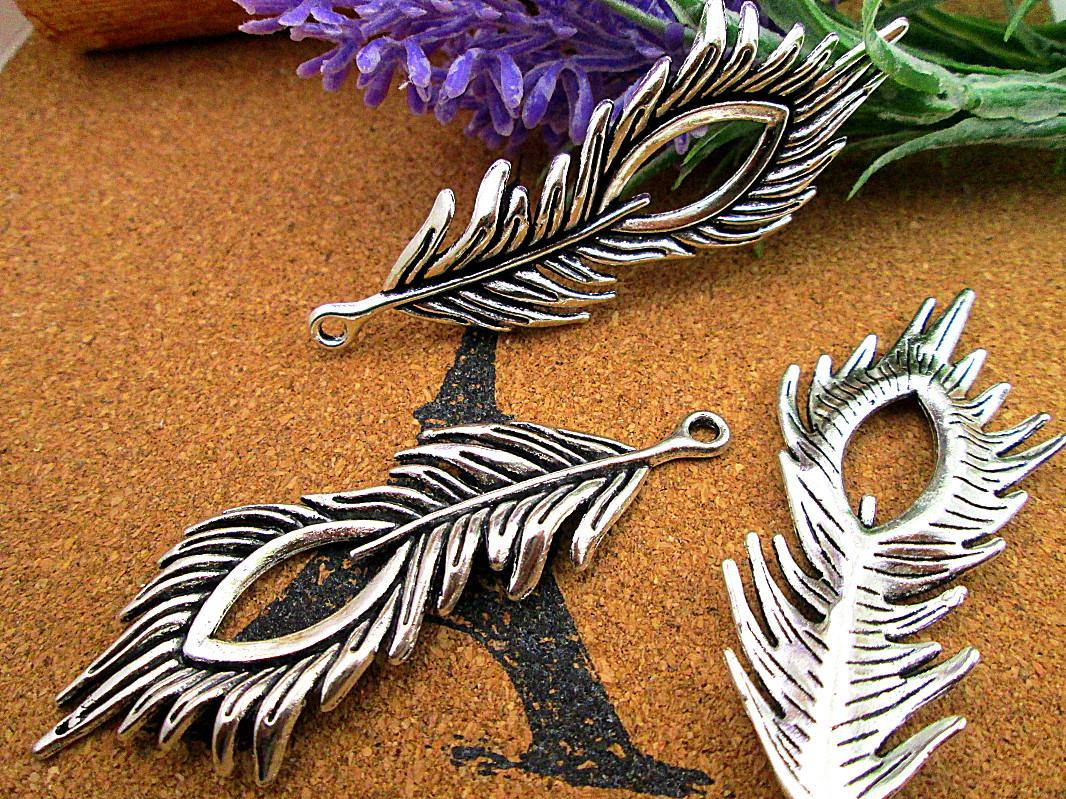 15pcs-Peacock Feather Charms, Antique Tibetan silver Lovely Feather charm pendants 71x28mm