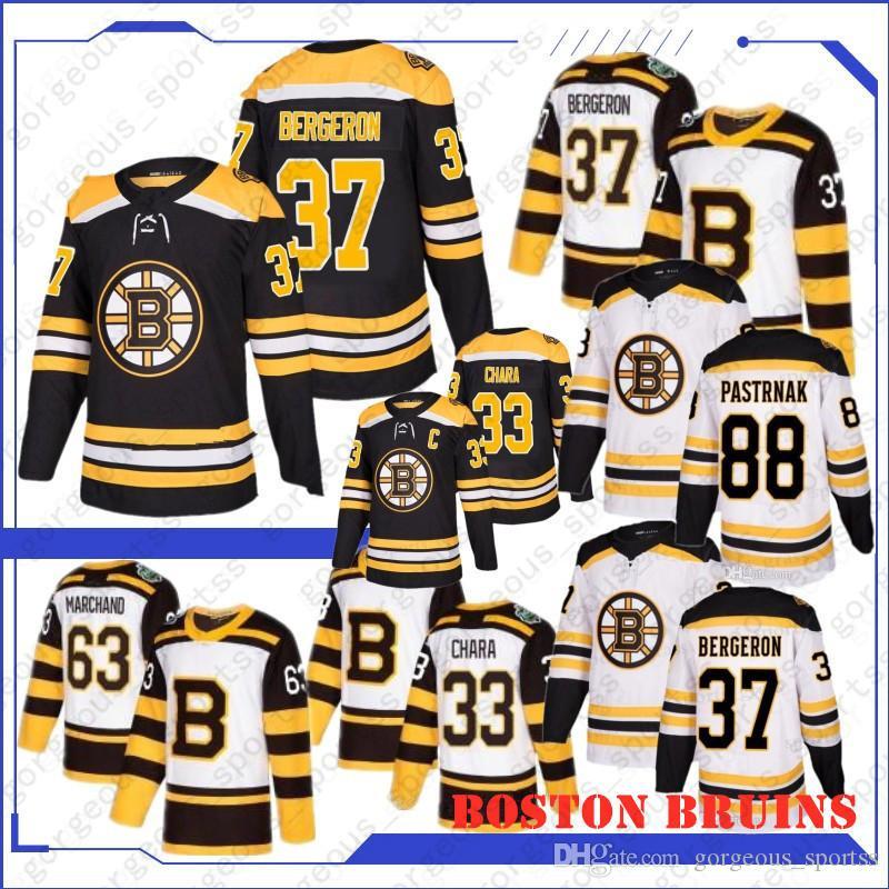 NUEVO 33 ZDEO Chara Boston Bruins Hockey Jerseys 63 Brad Marchand 37 Patrice Bergeron 88 David Pastrnak 4 Bobby Orr 2019 Top Quality Jerseys