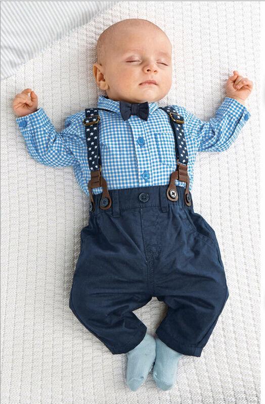 Criança Bebé infantil que Bow Tie manta azul recém-nascido shirt Suspender Calças Calças Conjuntos 2pcs set