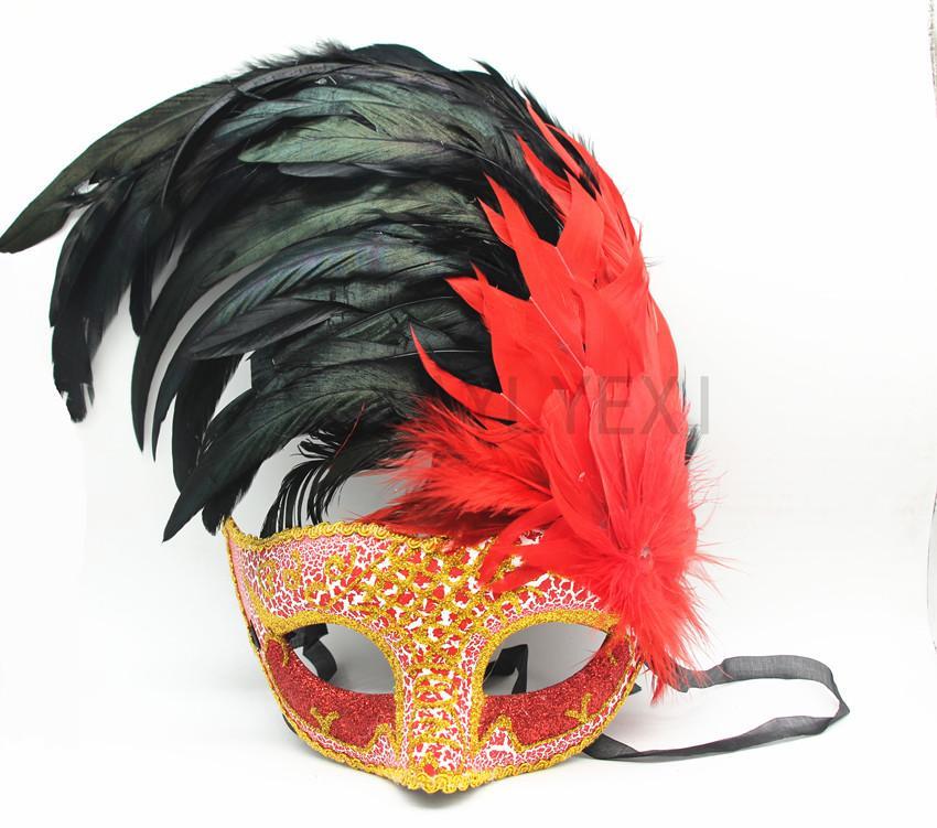 nueva moda Mujeres bastante atractiva de la Navidad medias máscaras cara banquete de boda de la princesa de máscaras máscaras de plumas bola italiano Halloween