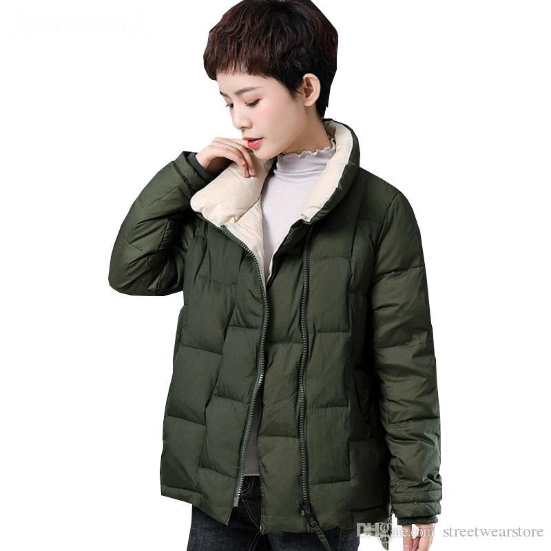 Vêtements d'extérieur Femme Veste en coton d'hiver Femme Nouvelle Couleur unie Veste chaude et rembourrée Femme Grande taille