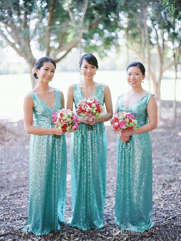 Simple Cheap Turquoise Sequined Country Long Bridesmaid Dresses Floor Length Plugging Maid Of Honor Summer Wedding Guest Party Prom Gown