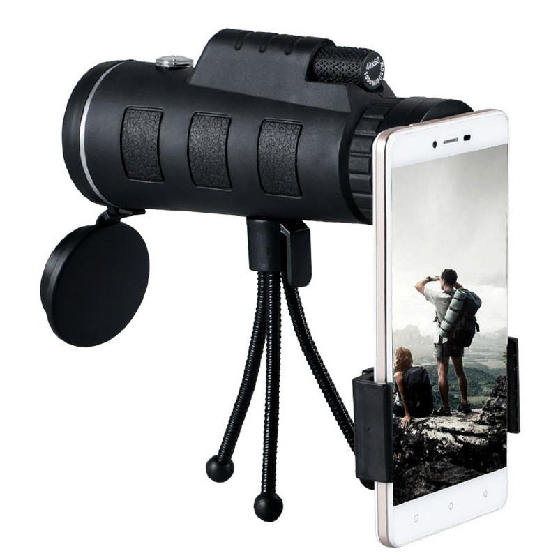 40X60 Zoom Monocular Telescope Scope for Smartphone Camera Camping Hiking Fishing with Compass Phone Clip Tripod