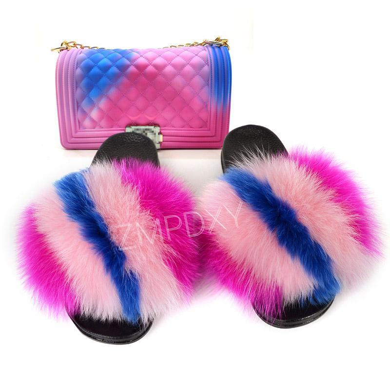 Frauen-Pelz-Slides Sommer-neue Wohnung Flip-Flops Misch-Farbe Jelly Geldbeutel Set Dropshipping Handtaschen Fashion Fluffy Sandalen
