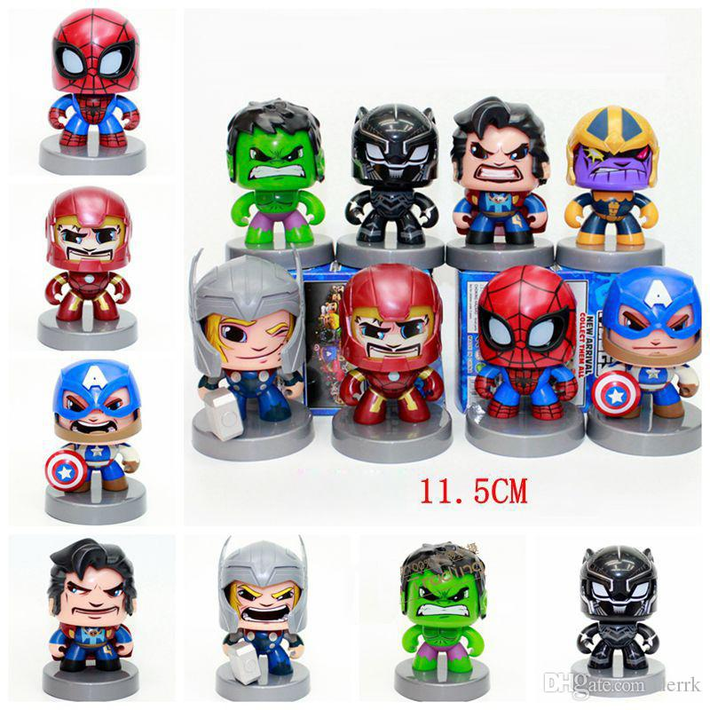 Marvel avengers iron man captain America spider-man hulk black panther slasher action figures Alliance 8 cool-headed face-turning kids toys