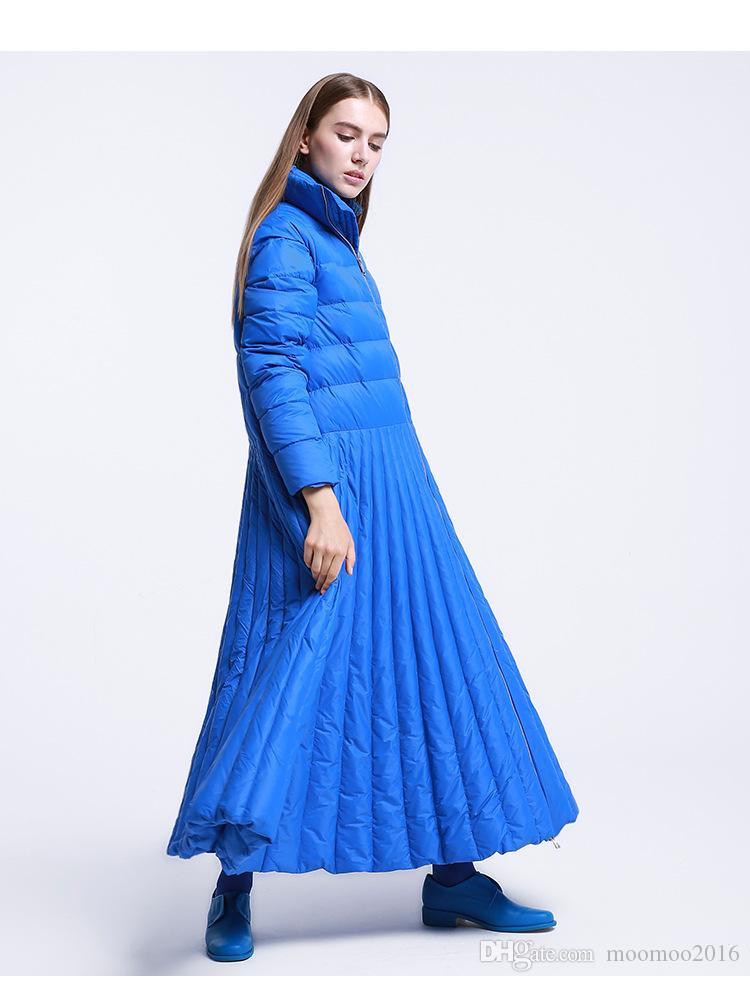 2018 جديد وصول الشتاء المرأة أسفل المعاطف تنورة تصميم الإناث طويلة ستر سترة سميكة أوزة أسفل قميص يندبروف زائد الحجم 7xl