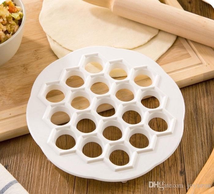 Herramientas de pastelería de cocina DIY Molde de bola de masa de plástico blanco Molde de prensa de masa Bola de masa de 19 agujeros Herramientas de molde de bola de masa de masa DHL gratis FA2657