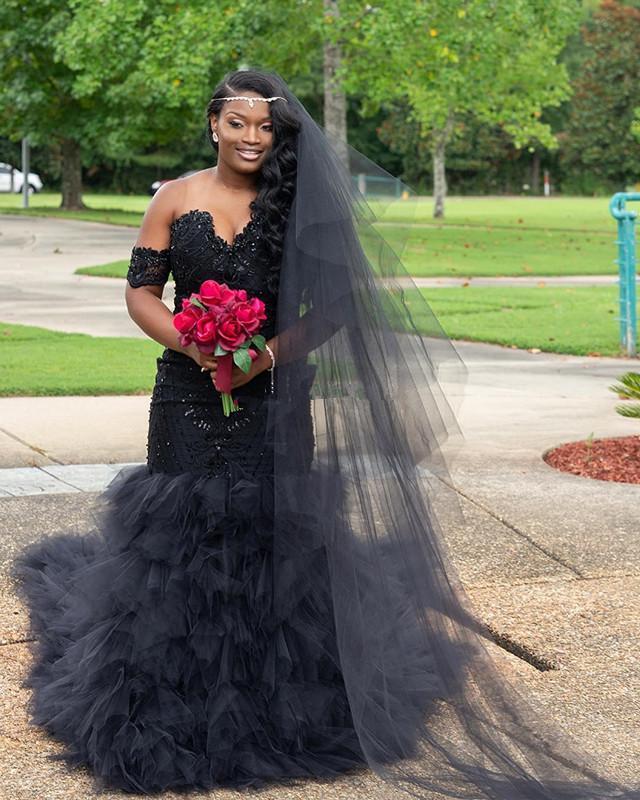 Vintage Vestidos de novia de sirena negra 2020 de lentejuelas de encaje de hombros con lentejuelas de lentejuelas de lentejuelas Skritas de novia africana Jardín de la novia Boda Vestidos nupciales