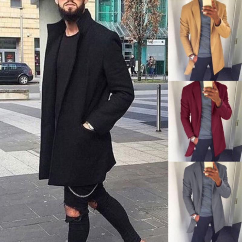 남성 겨울 코트 가을 겨울 남성 캐주얼 코트 두꺼워 모직 트렌치 코트 비즈니스 남성 솔리드 클래식 외투 중간 길이 긴 재킷 탑스