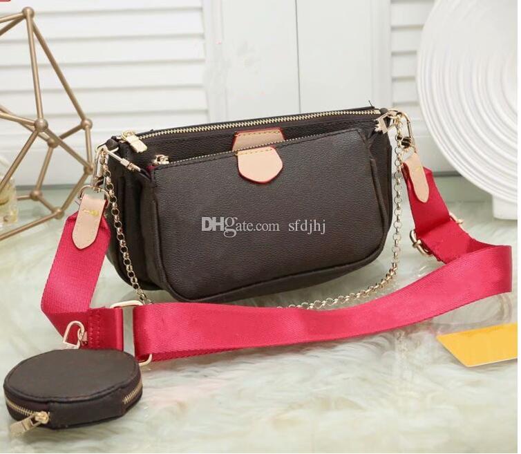 뜨거운 판매 새로운 핸드백 지갑 여성이 좋아하는 미니 포 셰트 3PCS 액세서리 크로스 바디 백 빈티 어깨 가방 가죽 멀티 컬러 스트랩