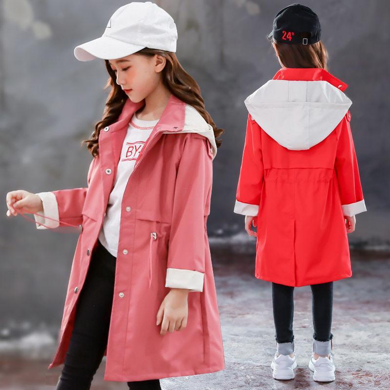 Girls Trench Abrigos Kids Windbreaker Primavera Otoño Nuevo Adolescente Abrigos Largos Ropa de abrigo para niños Ropa 5 7 9 11 13 Año