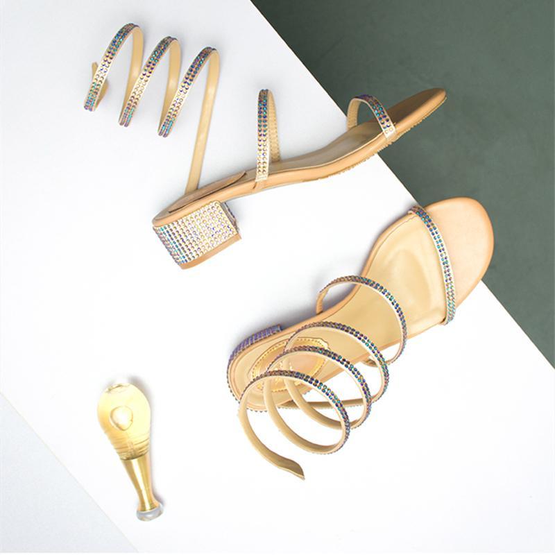 Été Femmes Sandales 2019 talon strass mode sexy mi Tied Parti Respirant Confort shopping femme Chaussures de marche Casual S200114