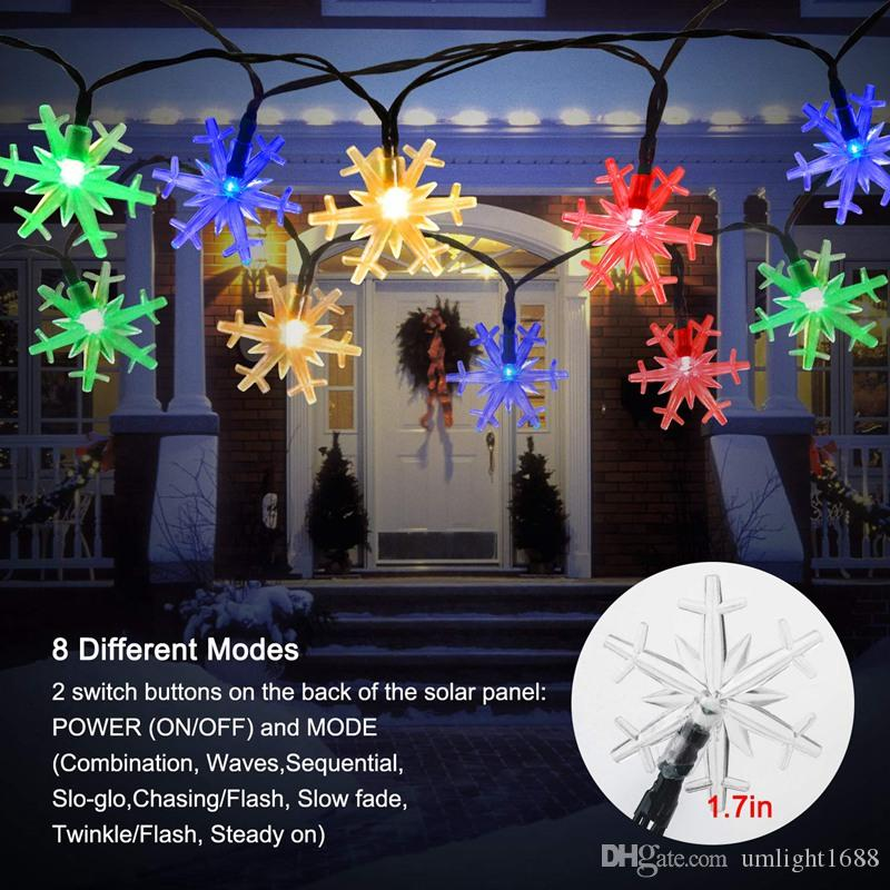 2020 Umlight1688 Snowflake Solar String Lights 6m 30 Led 8 Mode Waterproof Solar Christmas Fairy Lights For Outdoor Party Gardens Holiday From Umlight1688 7 54 Dhgate Com