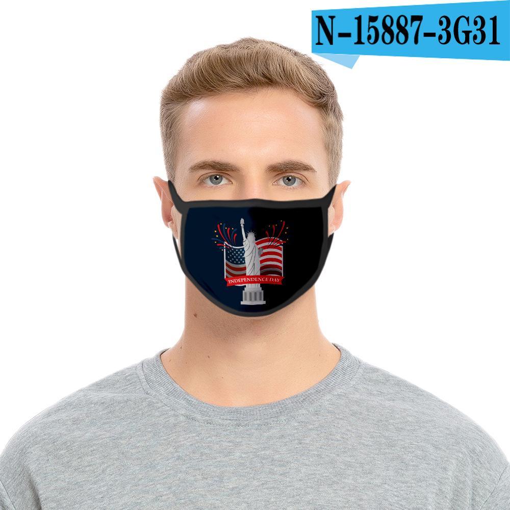 36styles de la bandera de Estados Unidos en 3D Máscara de América Día de la Independencia de la mascarilla máscaras a prueba de polvo lavable 2020 Boca cubierta protectora Manera GGA3511-11