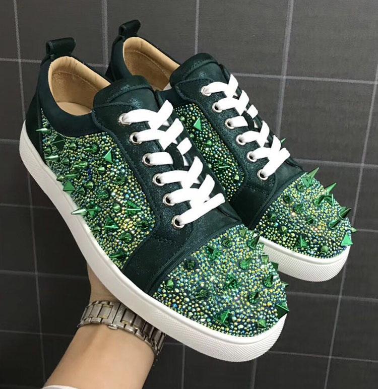 marcas famosas puntos de los zapatos de diamantes de imitación verdes zapatillas de deporte superiores bajas laboutin auténticos zapatos casuales mujeres de los hombres de cristal de remaches de cuero rojo zapatos inferiores