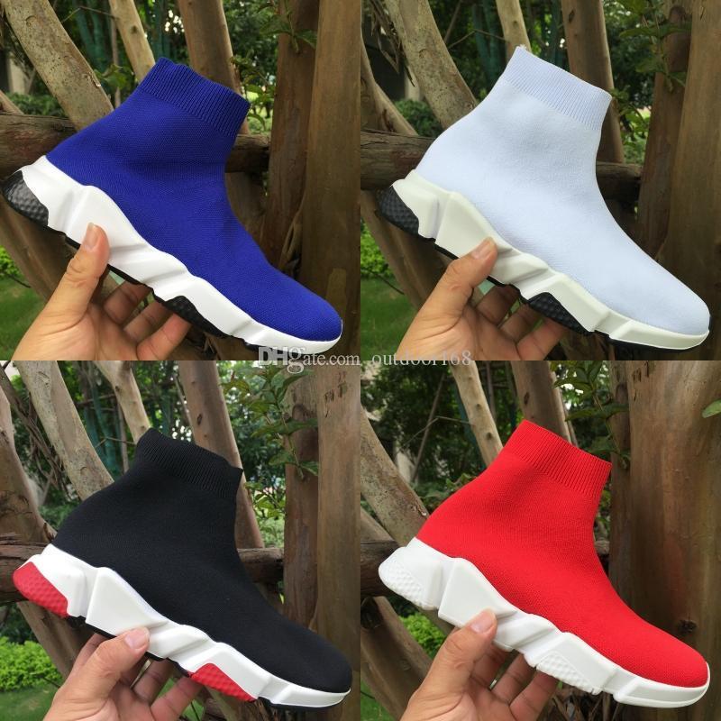 Moda Calzado casual mejor calidad alta del calcetín zapatos de diseño Hombres Mujeres Speed Trainer Runner Triple Balck Plataforma Blanca zapatillas de deporte de lujo