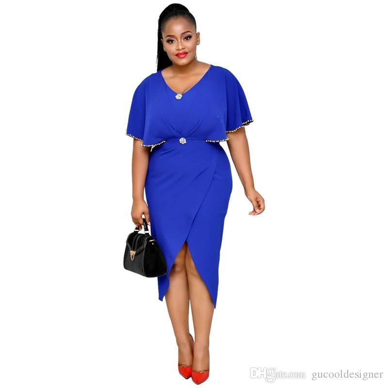 Summer Pure Color Ladies Dress Модный дизайнер V-образным вырезом Женские платья Повседневная обшитая панелями женская одежда с вышивкой бисером