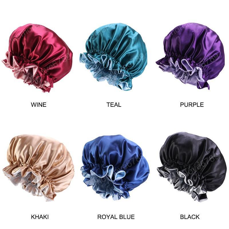 Nouveau style réversible en satin Bonnet double couche couchage Cap Femmes Silky Turban Chapeau Bonnet de nuit Bonnet Head Couverture
