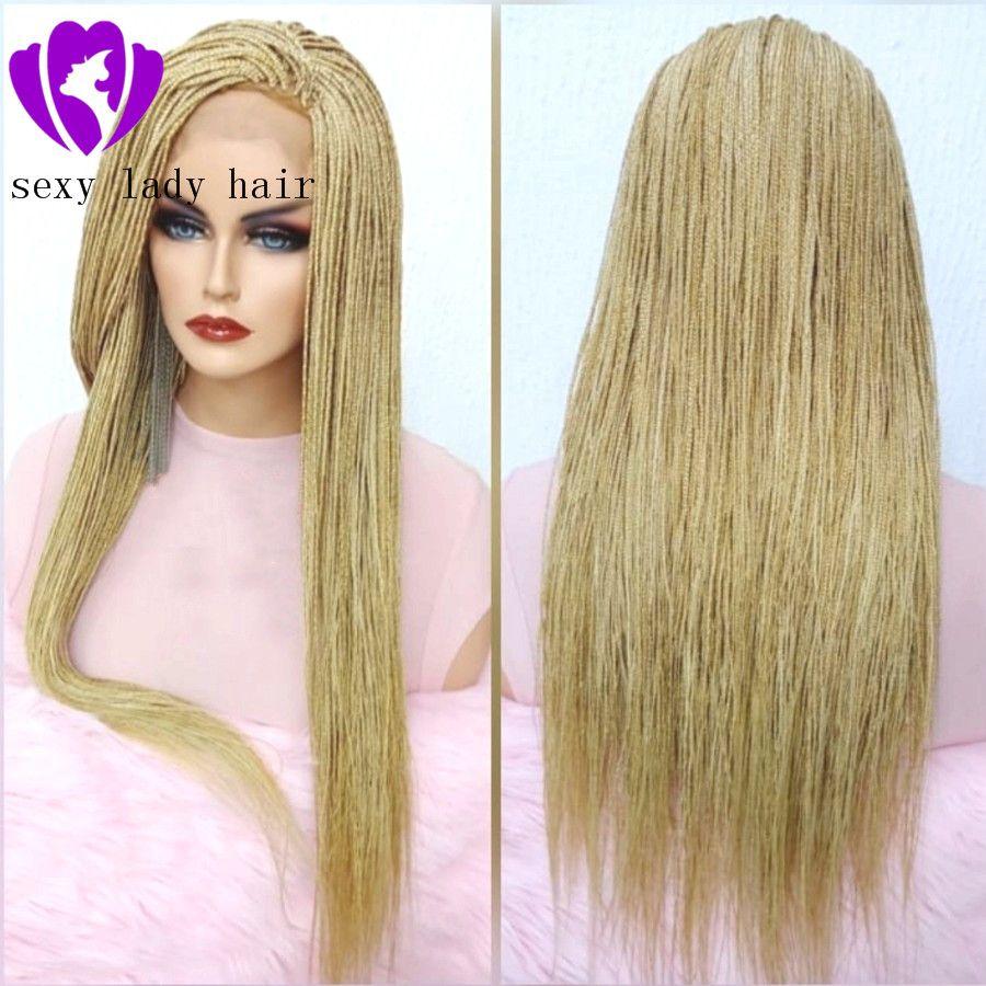 micro haute qualité tressée 613 perruque avant pleine dentelle boîte cheveux tressage blonds tresses perruque avec des cheveux de bébé pour les femmes noires