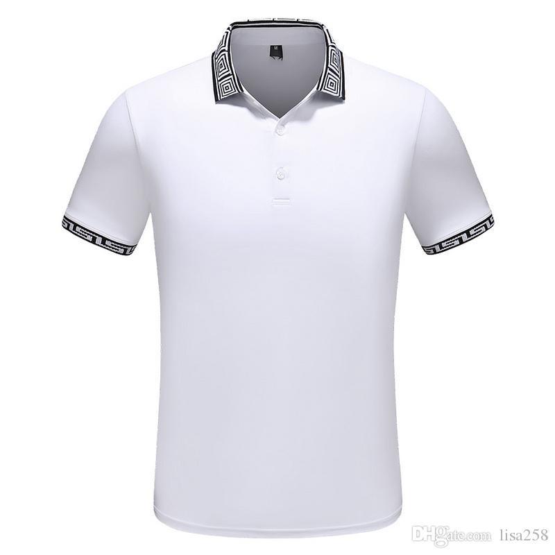 2019 Primavera Verano Moda Polo Marca de diseñador para hombre Camiseta bordada Tiger Wolf Camiseta de manga corta para hombre Camiseta juvenil 0572