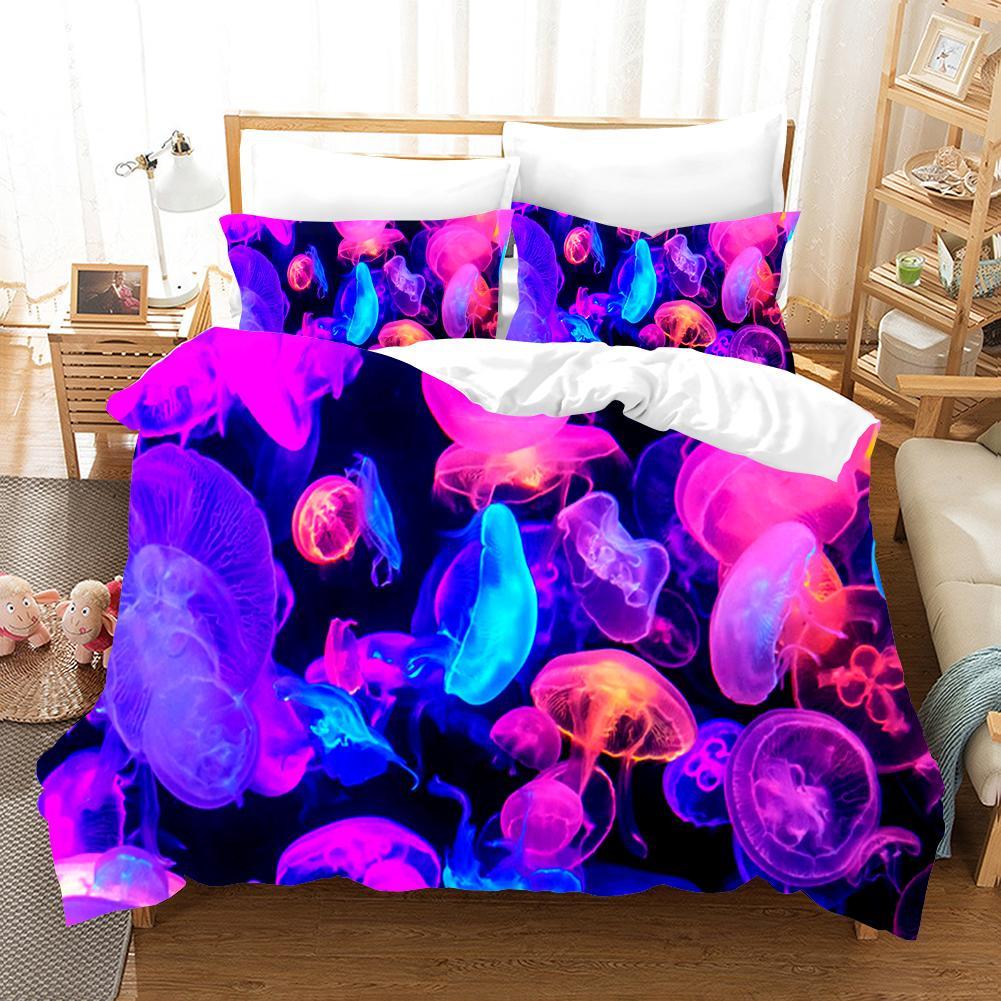 Medusas 3D Juego de sábanas de impresión súper transparente Fundas nórdicas Fundas de almohadas Juegos de sábanas de edredón Ropa de cama Ropa de cama Ropa de cama