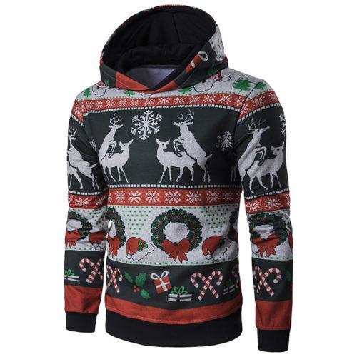 İmcute Erkek Kış Sıcak Noel Hoodie Uzun Kollu Jumper Casual Kazak Ceket Ceket Dış Giyim
