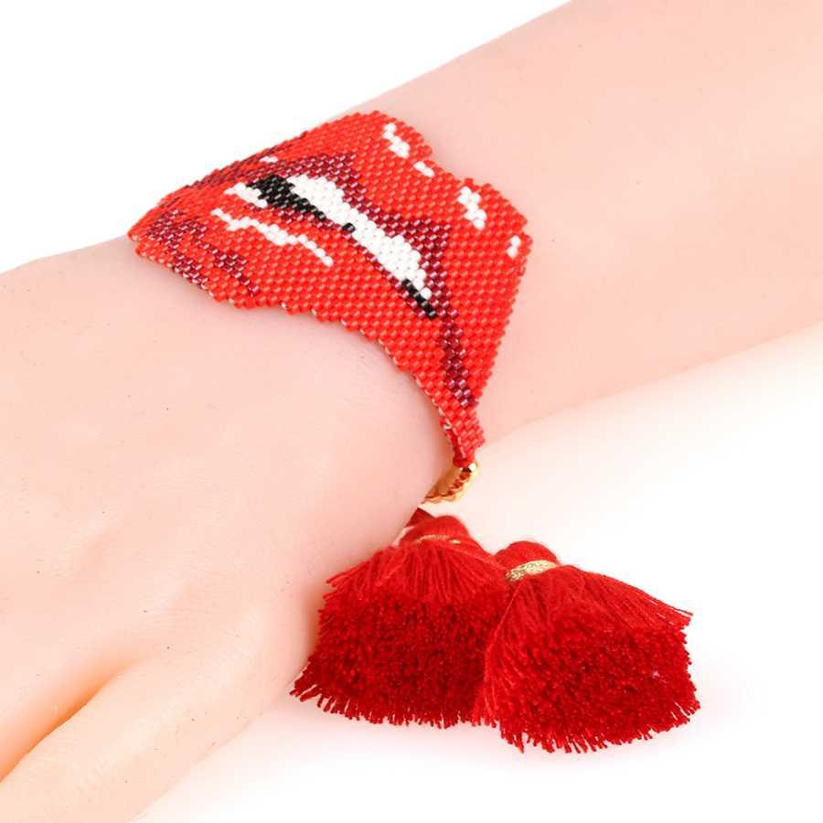 Trendy Red Lip Teeth Bracelet Women MIYUKI Glass Beads Handmade Tassel Female Adjustable Bracelets Hip Hop Jewelry Pulsera Gift