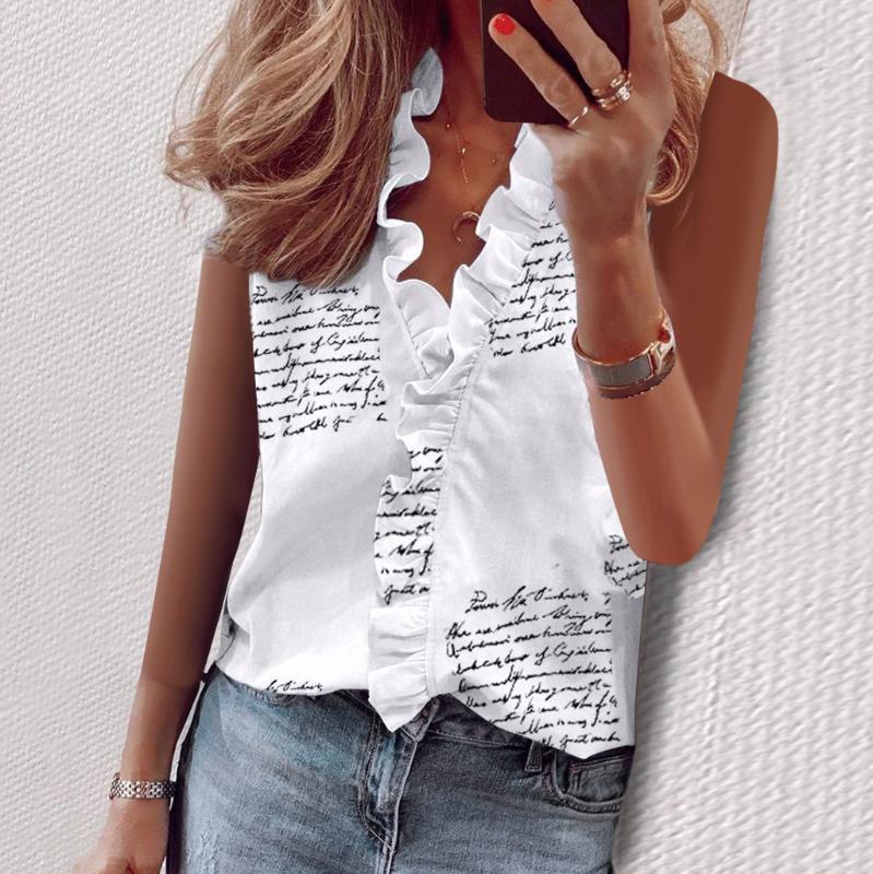 Été Débardeurs Femmes Sexy Ruffle col en V manches Chemisier Imprimer Vintage solide base en vrac Casual Tee Top Pour Blusa Femenina